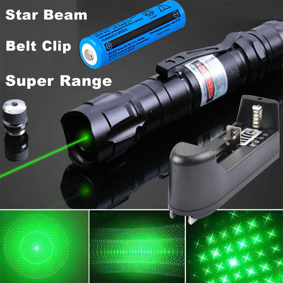 Powerful 2in1 Green Laser Pen Pointer Star Cap 5mw 532nm Cat Toy Military 009 Green Laser Belt Clip+18650 Battery+Charger