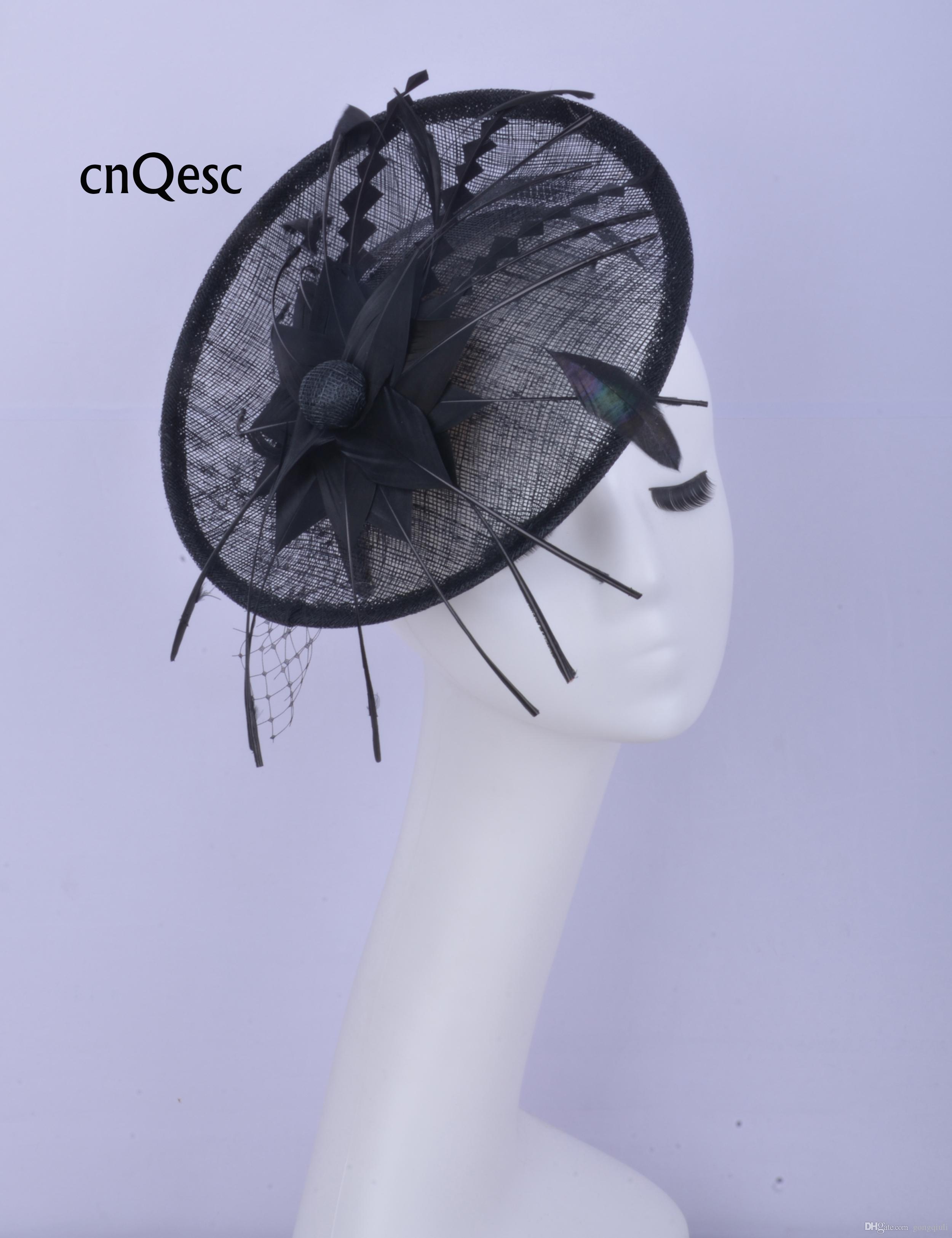 2019 Black sinamay fascinator Accessorio per capelli Copricapo Kentucky Derby gare di nozze doccia nuziale madre della sposa con fiore di piume