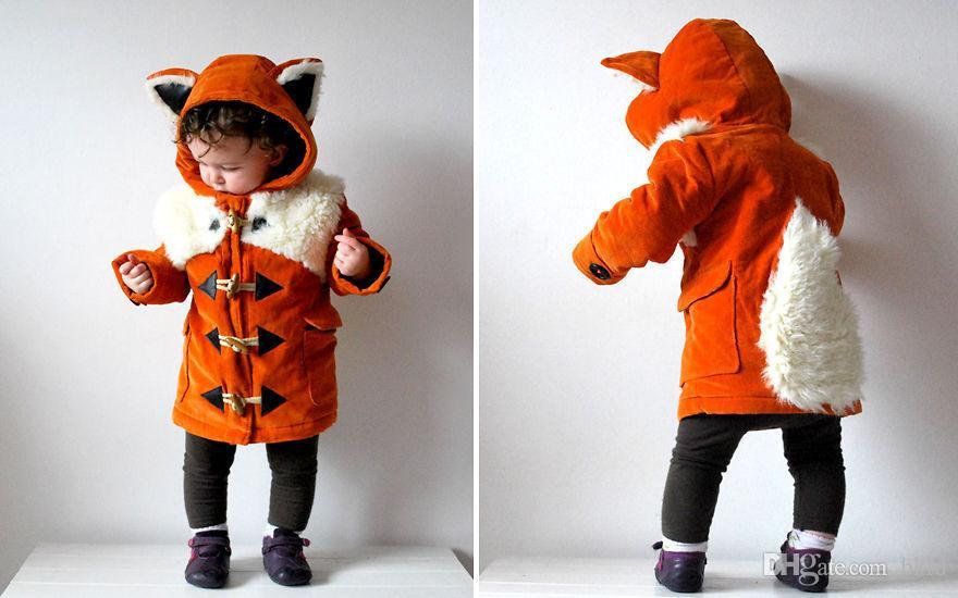 2.020 niñas capa del invierno 1-5 años viejo zorro historieta de las muchachas del oído con capucha ropa caliente del otoño niños remiendo con los bolsillos Abrigos