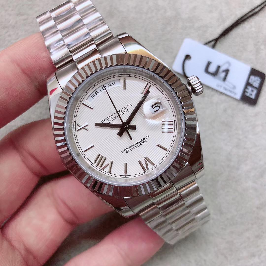 럭셔리 U1 자동 남성 손목 시계 DAYDATE 샴페인 은폐 접는 크라운 버클 대통령 스트랩 다이얼 셀프 와인딩