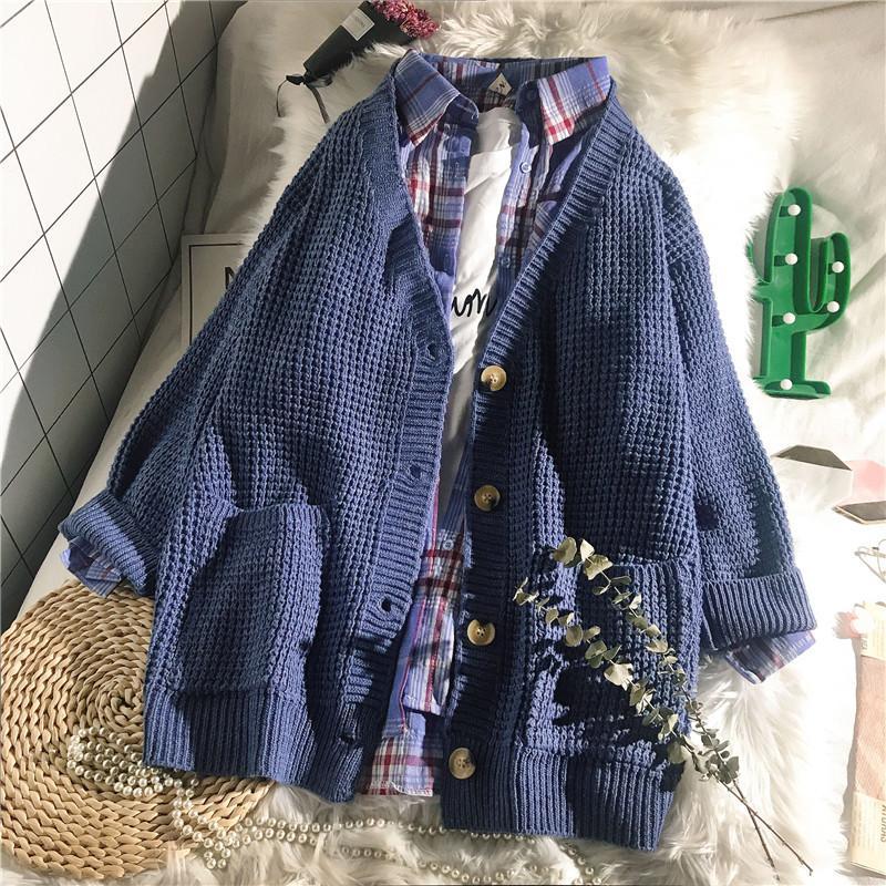 Katı 2019 kış yeni bayan kazak ve hırka örme cepler gevşek bayan kadın dış giyim ceket T200319 başında