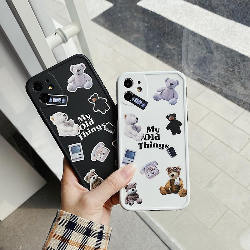 Brand Cartoon Mobile Phone Case 11pro max/11Pro/ X/Xs XR XSMax 7P/ 7/Popular bear Print New Summer lovely style Iphone case 2 colores select