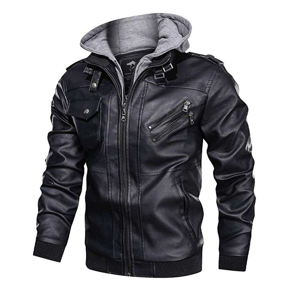 이동식 지퍼 후드와 함께 남성 가죽 재킷 코트 후드 슬림 캐주얼 오토바이 재킷 가짜 가죽 폭격기 재킷 코트