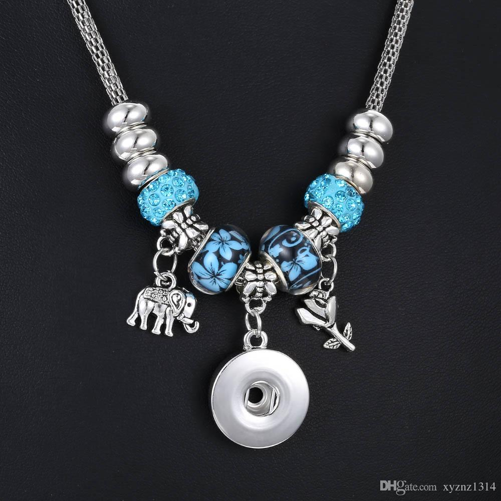 New Snap Button Necklace Fit 18mm Snap Buttons Jewelry Dragonfly Elephant Charms Diy Beaded Snake Chain Necklace Buttons Jewelry