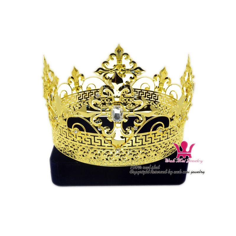 Erkekler Tiara King Taç İmparatorluk Ortaçağ Taçlar cosplay Modeli Gösterisi Saç Takı Altın Metal Prens Hairwear Vintage taçlar Mo200