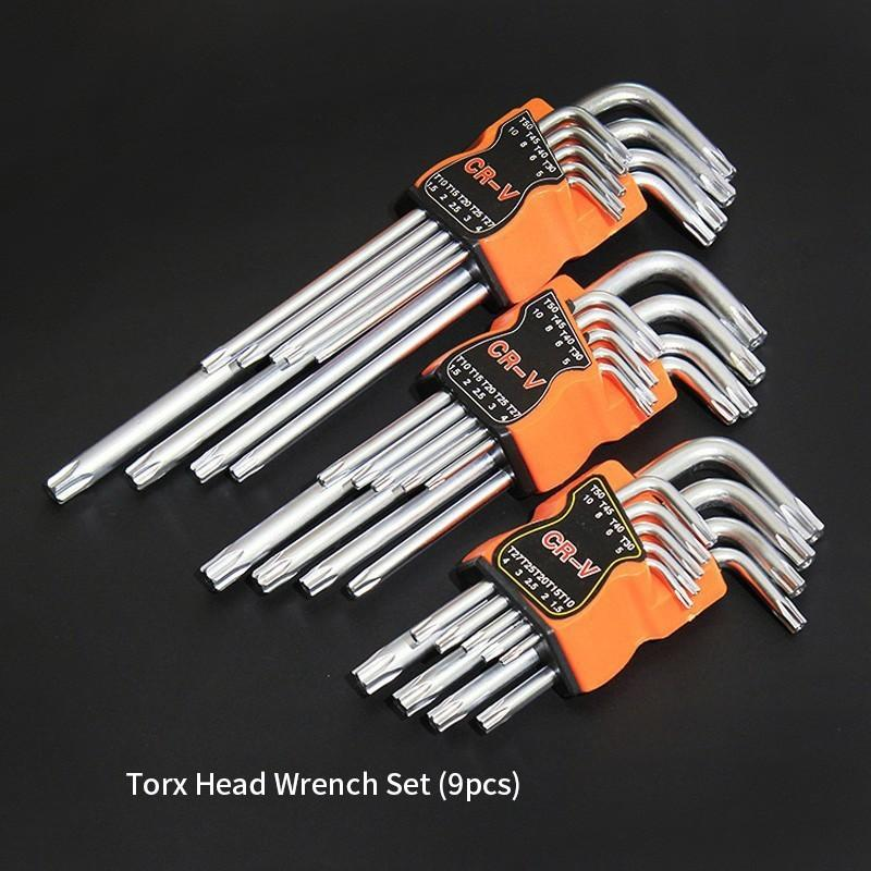 9pcs Karbon Çelik Çift sonu Tornavida Hex Seti El Aracı Anahtar Allen Anahtar Altıgen Düz Topu Torx Yıldız Kafa Anahtarı
