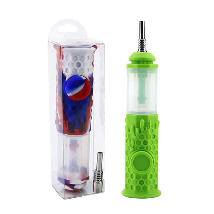 Octagon huile de silicone Rigs verre Bong en verre pipe à eau Dab Dabber brûleur avec clous en titane et silicone Box vers le bas de la tige DHL fumeurs