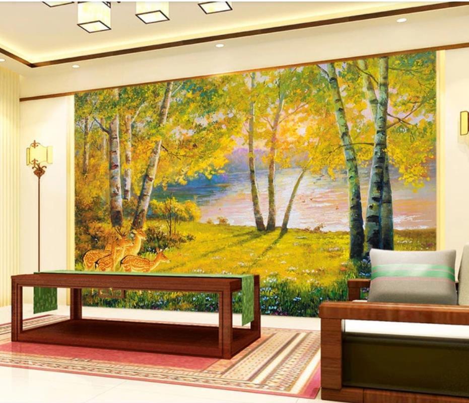 carta da parati moderna per soggiorno foresta lago muro europeo bellissimo sfondo dipinto a olio stile