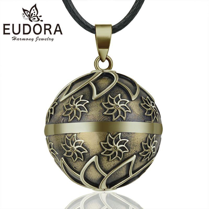 EUDORA Harmony Ball Vintage Bronze Flowers Necklace Chime Bola Pendant for Women Fashion Jewelry Retro Mexican Pregnancy Ball