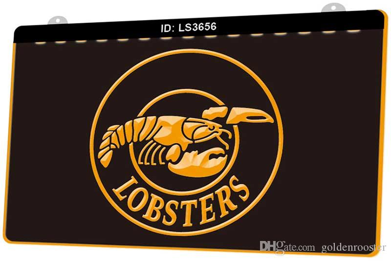 LS3656 Lobsters Restaurant New 3D Engraving LED Light Sign Customize on Demand Multiple Color