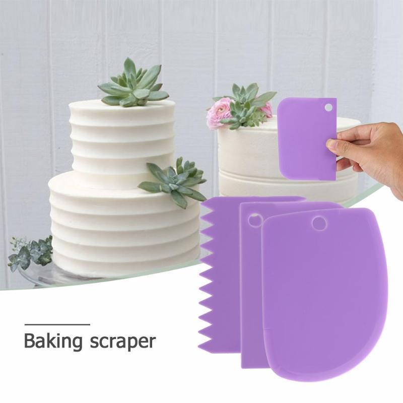 3 teile / satz Kunststoff Kuchen Spatel Teig Messer Icing Fondant Schaber Gezackten Rand Plain Glatte Kuchen Paddel Backen Gebäck Werkzeuge