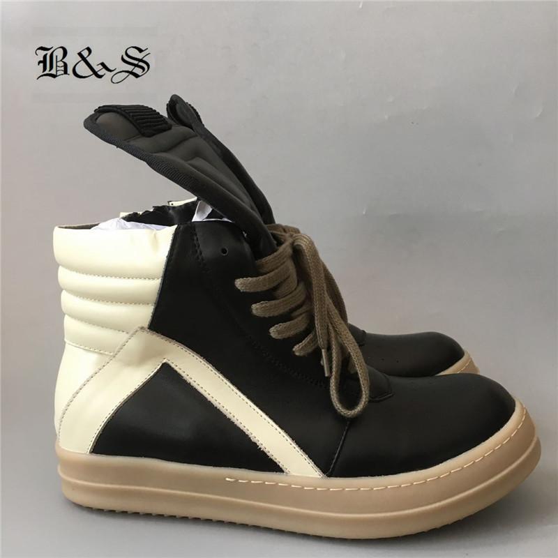2018s / de Black Street exclusive Gum-Sole lacent gBasket hommes Zipper rock Hip Hop véritable Bottes cuir formateur Chaussures plates