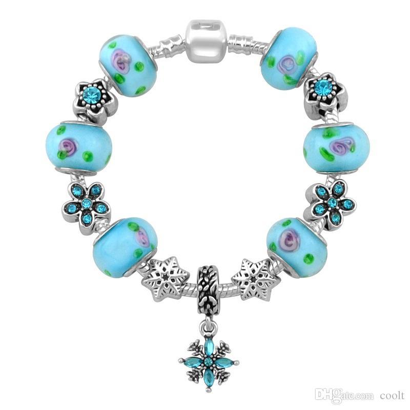New Design Flower Snowflake Charm Pandora Bracelets For Women Fashion Bracelet Diy Jewelry With Gift Bag 18 19 20 21CM