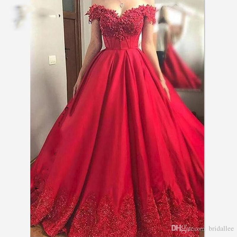 Compre Fuera Del Hombro Vestidos De Quinceañera Para Niñas Apliques De Encaje Perlas Una Línea Larga Dulce 16 Vestido De Fiesta Fiesta Vestidos De 15
