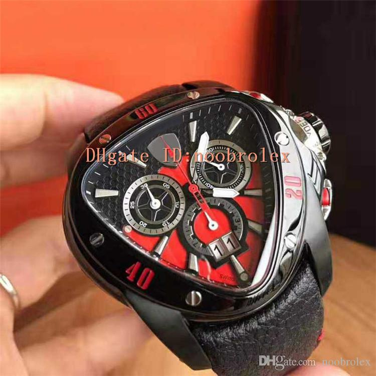 New Racing Car watch Sport Watch Swiss Quartz Date and day display Sapphire Crystal Plating black 316L Steel Triangle Case Water Resistant
