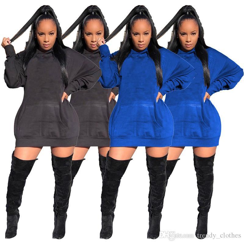 Frauen Minikleider beiläufige Hülse Hoodies Brief lose elegante Art und Weise Rock S-2XL Herbst Winterkleidung Verkauf DHL 2467 batwing