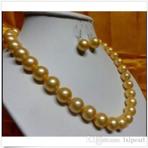 """Riesige 18 """"10-11mm echte Südsee Gold Perlenkette 14K Gold Geschenk Ohrring"""