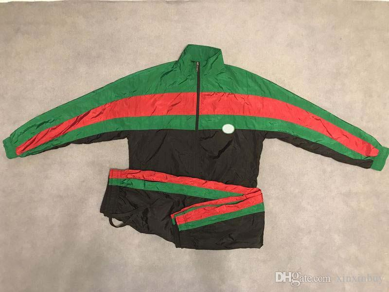 2019 erkek tasarımcı ceket lüks Siyah kırmızı yeşil eşleştirme Gevşek model giysi Standı Yaka uzun kollu Erkek Kadın gerçek etiket etiketi Yeni