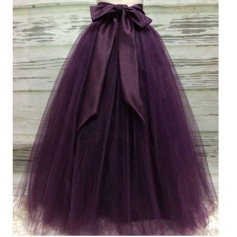 Puffy Dark Purple Long Tulle Skirts For Women With Riffon Sash Puffy Tutu Skirt Female Adult Saias Custom Made New Elastic T5190615