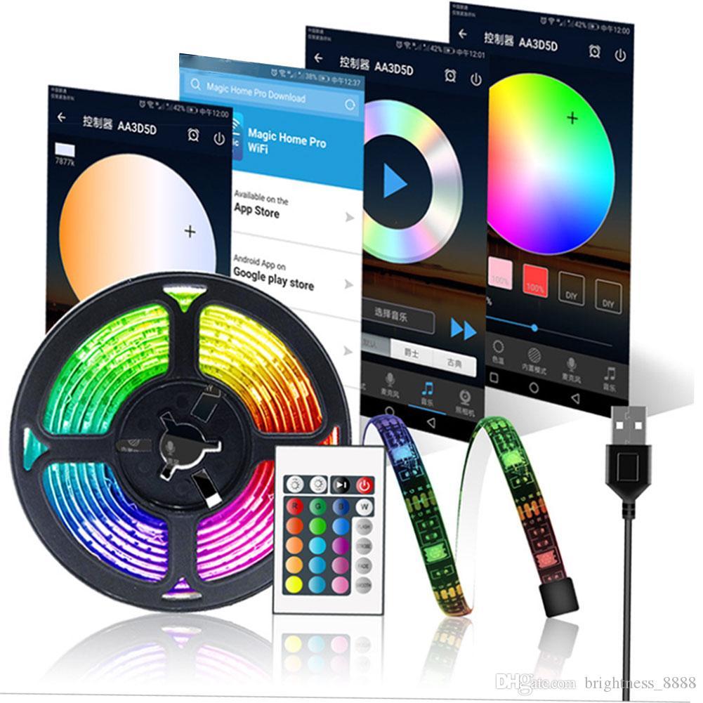 Wi-Fi TV LED tira luz de fundo, RGB À Prova D 'Água Usb Strip Kit de Luz Aplicativo Controlado 5050 Trabalhos de Luz Multicoloridos com Alexa, Google Home