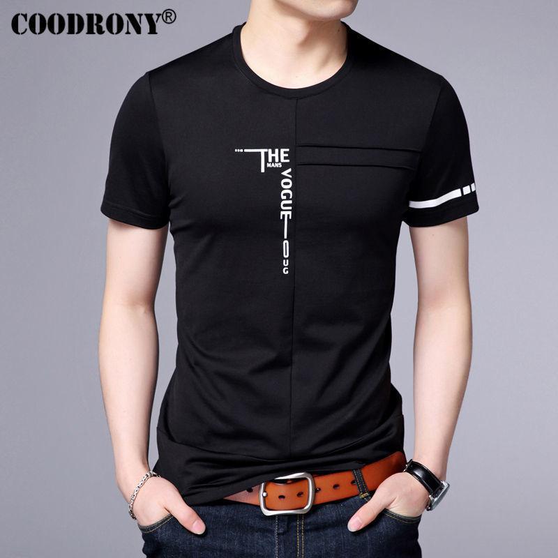 Coodrony 2017 Printemps Été Nouvelle Arrivée De Mode Lettre D'impression À Manches Courtes O-cou T-shirt Hommes Pur Coton T Chemises Hommes Hauts S7620 Y19072201