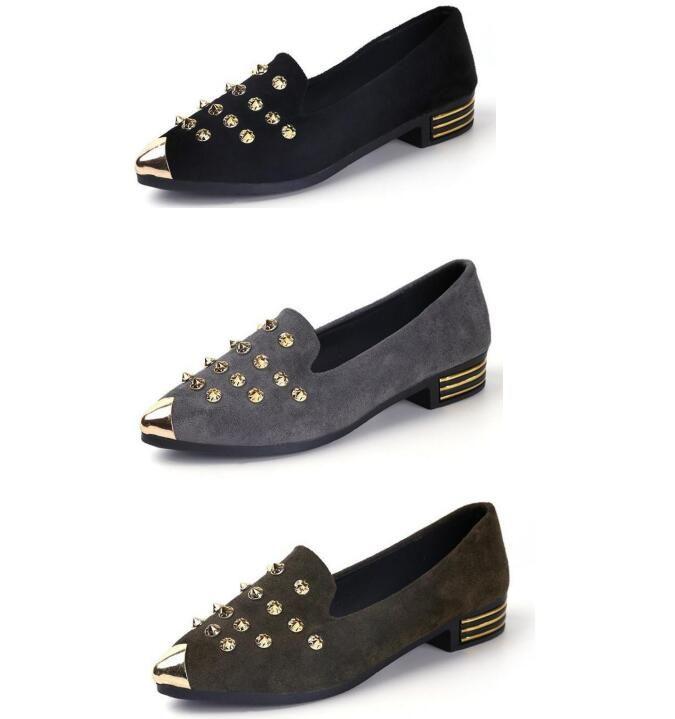 Weisefrauenniet Freizeitschuhe Frühling und Herbst neue flacher Mund matte Leder wies Erbsen Schuhe beiläufige Schuhe der Frauen