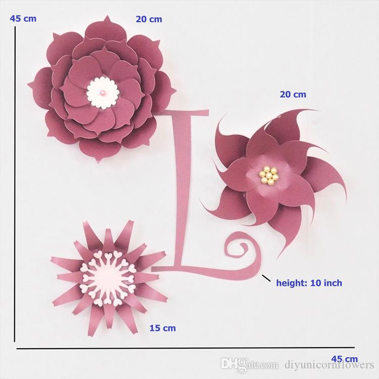 Cardstock Red Fleur DIY Paper Flowers Rose Letter Kit For Nursery Wall Deco Baby Shower Boy Room Birthday Backdrop