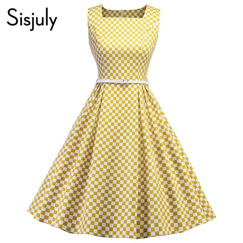 sale usa online stable quality latest selection Sisjuly Vintage 1950s Summer Dress Womens Square Neck Sleeveless Belt A  Line Dresses Plaid Ladies Office Dress Retro Vesitidos Pink And White  Dresses ...