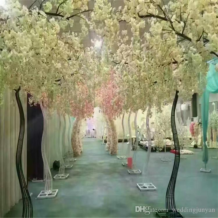 Estrada branca artificial da flor de cerejeira chumbo flor de cereja Simulação com Arch Ferro Quadro Para Props festa de casamento