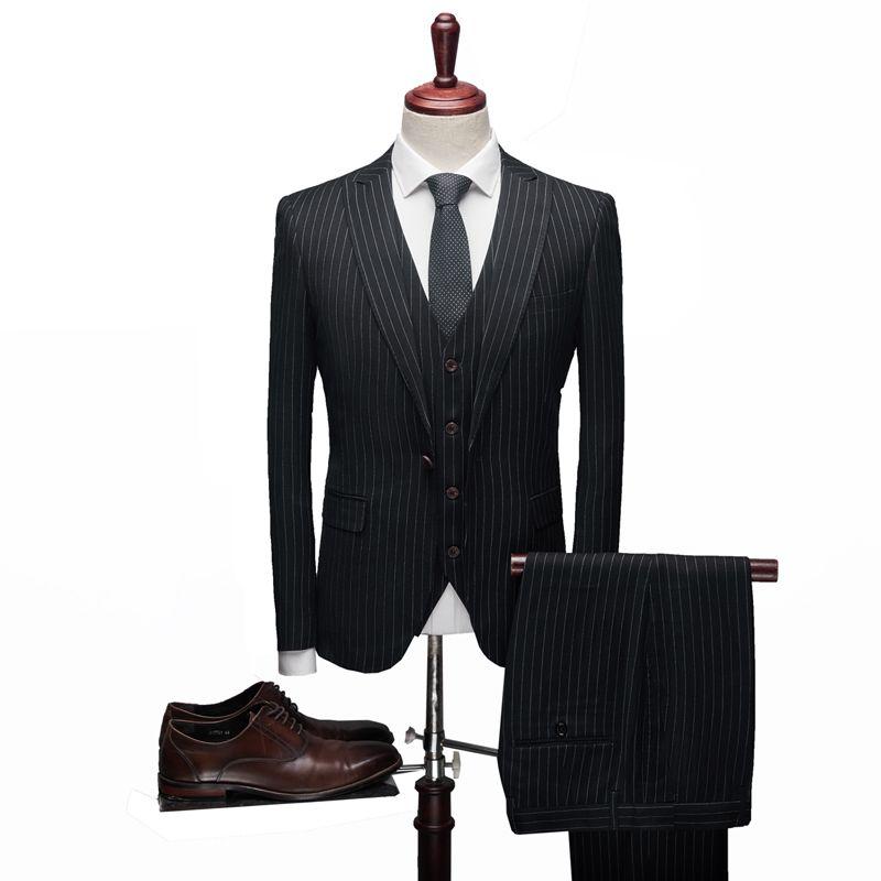 Groom костюм полный черный Роскошные Мужчины костюм 3 Piece Set Fashion Boutique Lattice жениха Свадебное платье для мужчин смокинг Мужчины Банкет NO999