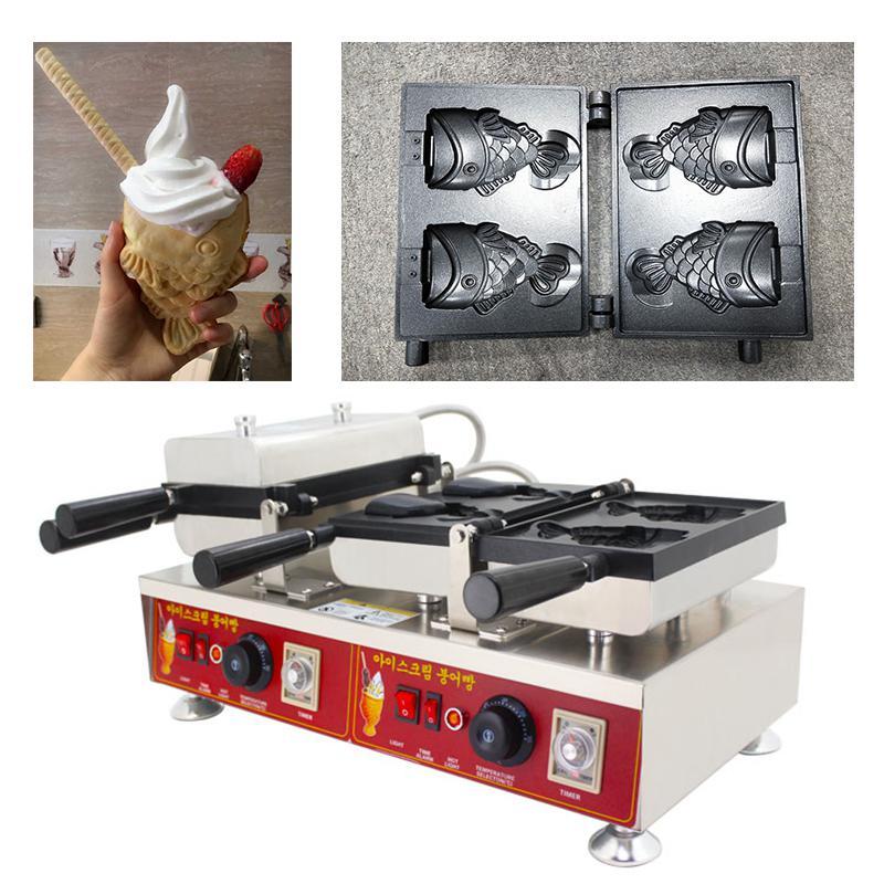 4 adet Dondurma Balık Waffle Koni Makinesi 110 v 220 v Açık Ağız Dondurma Taiayki Koni Makinesi Demir Baker Yapma Pan