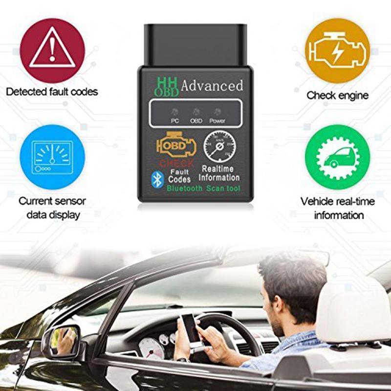 Bluetooth HH OBD Gelişmiş MOBDII OBD2 EL327 OTOBÜS Kontrol Motor Araba Oto Teşhis Tarayıcı Kod Okuyucu Tarama Aracı Arabirim Adaptörü