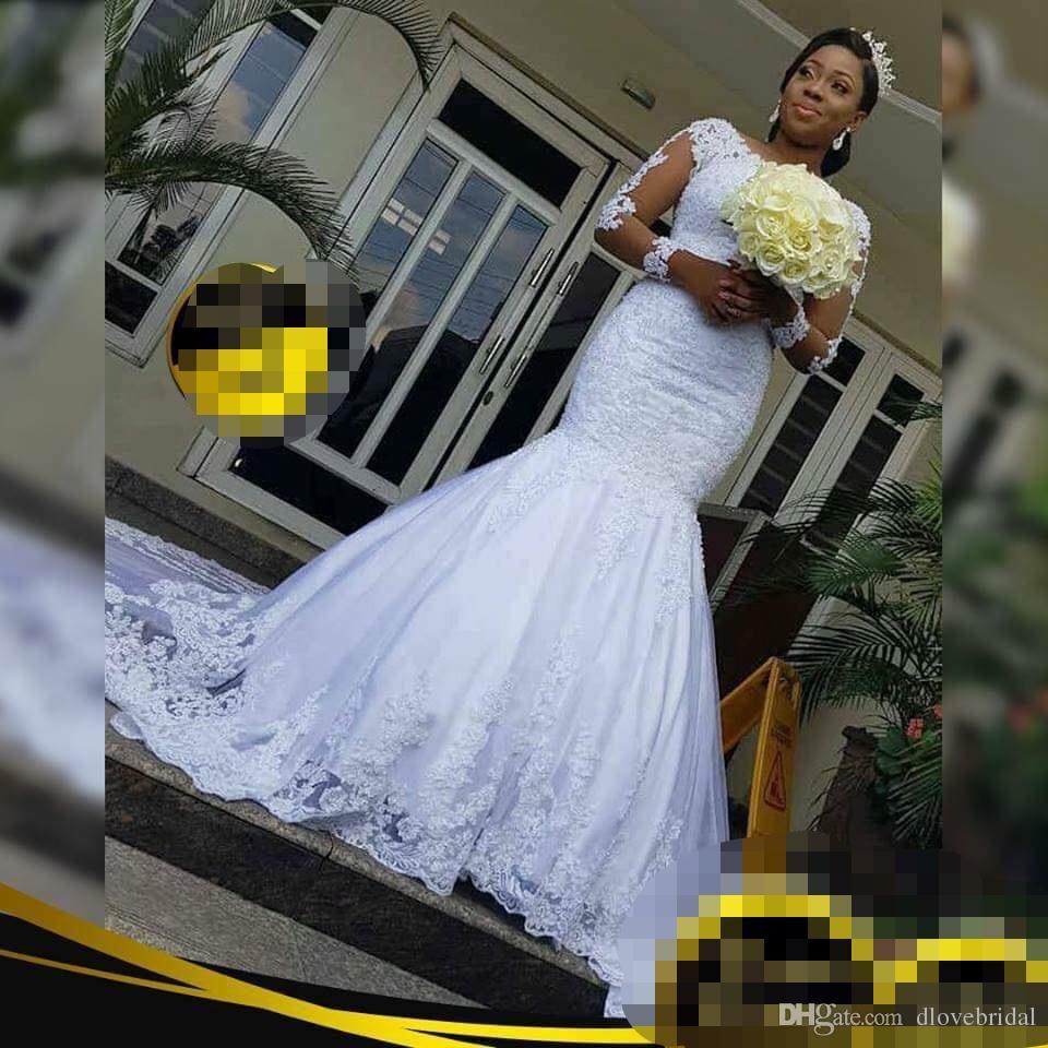 빈티지 환상 긴 소매 인어 웨딩 드레스 공장 맞춤형 고품질 레이스 아플리케 인 신부 드레스 Vestido de Novia