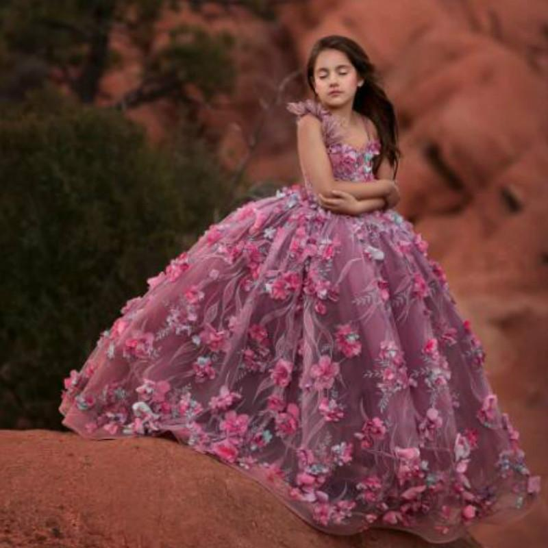 2020 Cute Ball Gown Girls Pageant Dresses Spaghetti Feather Lace 3D Floral Appliqued Flower Girl Dress Floor Length Girls Kids Formal Gowns