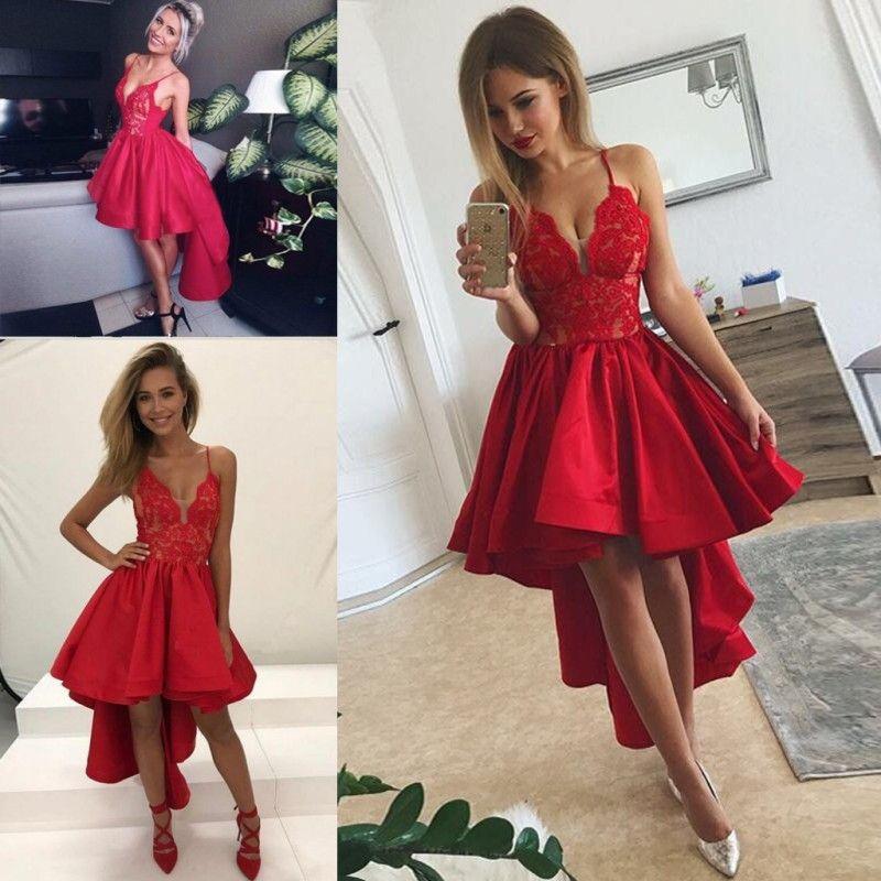Kırmızı Yüksek Düşük Gelinlik Modelleri 2019 Seksi Spagetti Dantel Ve Saten Abiye giyim Ruffles Ucuz Kokteyl Parti Elbise