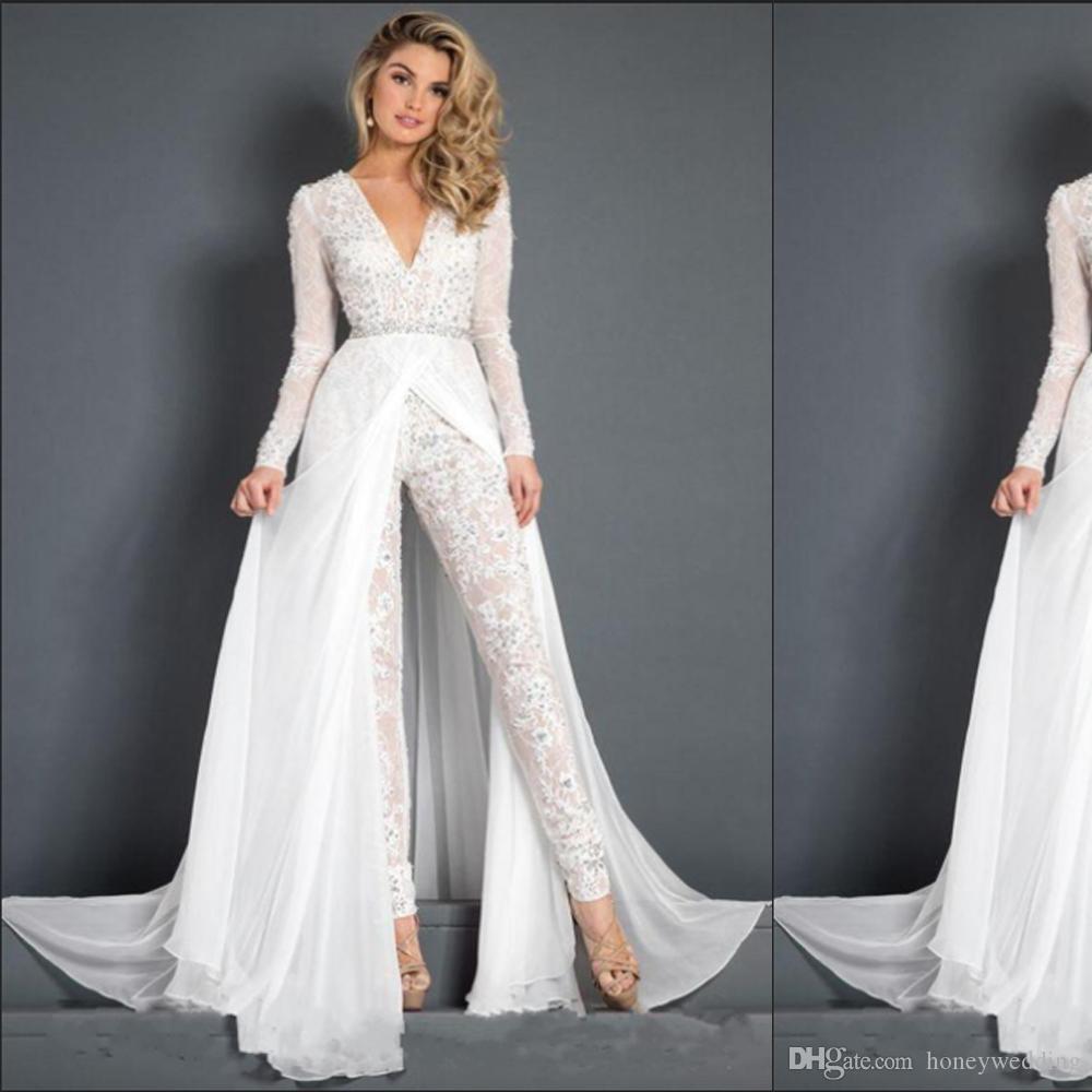2019 Chiffon Wedding Dress Jumpsuit With Train Modest V-neck Long Sleeve Crystal Belt Sash Beach Casual Jumpsuit Bridal Gown Pants