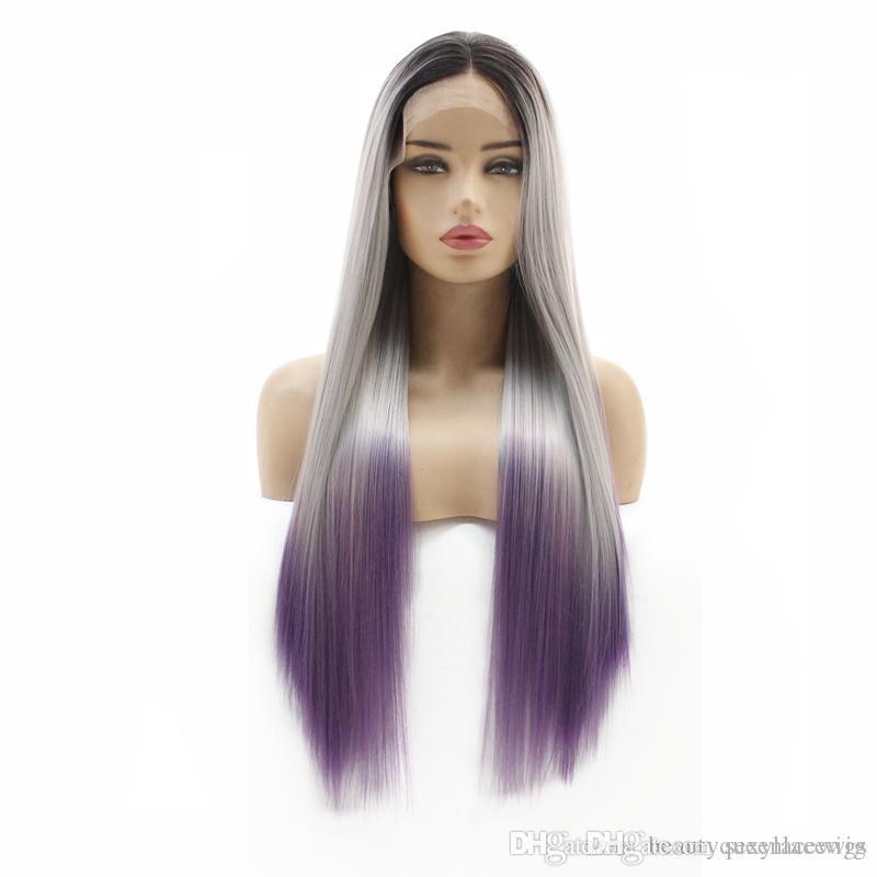 Drei Ton Ombre Spitze-Front-Perücke Mittelteil seidiger gerade Soft-Touch-Faser-Haar hitzebeständige synthetische Perücken für schwarze Frauen