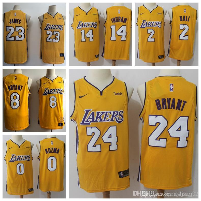 competitive price bc54c e5823 2019 2019 23 LeBron James Laker Jersey The Citys Los Angeles Kobe 24 Lonzo  2 Ball Kyle 0 Kuzma Brandon 14 Ingram Yellow Ball Jersey NEW From ...