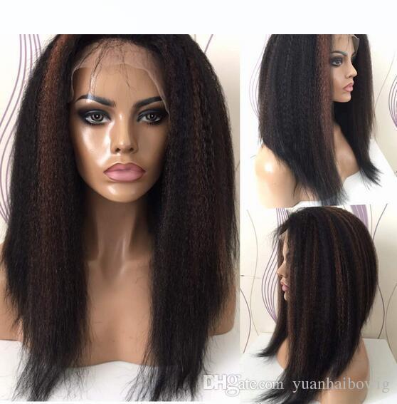 Couleur secondaire avant Perruques dentelle dans les stocks 150% la pleine densité de dentelle perruque vierge brésilienne cheveux Glueless Perruques Livraison gratuite rapide express