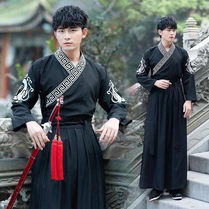 Hanfu Erkekler Siyah Çinli Kostüm Geleneksel Antik Qing Hanedanı Erkek Sahne kıyafetler Milli Folklor Göster Giyim DNV11617