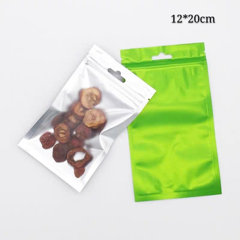 100pcs 12*20cm Green+Clear Aluminum foil Package Bags with Clear Window and air plane hole sample packaging zip lock pouches mylar bag