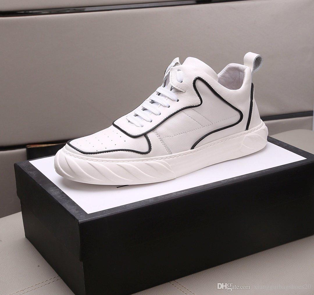 La más alta calidad de los nuevos zapatos de cuero de vaca reales masculinos, zapatos deportivos Top Nuevo tamaño de los zapatos alta ayuda 38-44 personas con cuadros de 1655