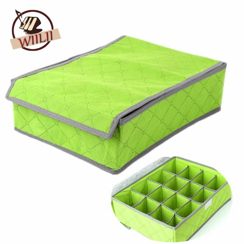 Home Storage Boxes For Underwear Socks Ties Bra Bins Closet Divider Storage Box With Cover Lingerie Organizer Caixa Container