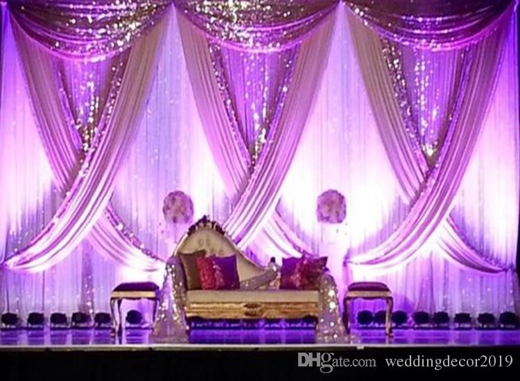 10ft x 20ft White Wedding Backdrop with Shiny Gold Swag Wedding drape and curtain wedding decoration 87