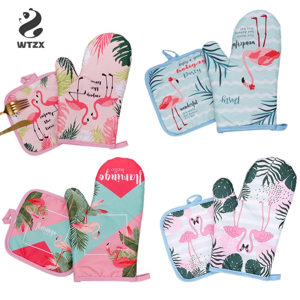 Cotton Fashion Flamingo Cactus Kitchen Pads and Cooking Microwave Pot Holder Baking BBQ Oven Potholders Mitts Kitchen Gloves