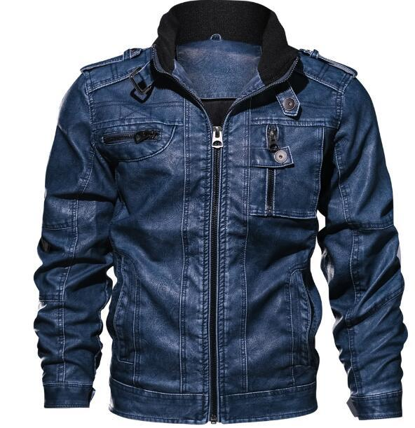 Veste en cuir Couleur Denim New hiver Veste en cuir pour hommes manteaux de fourrure à l'intérieur des hommes veste moto de haute qualité épais chaud PU cuir Outwear