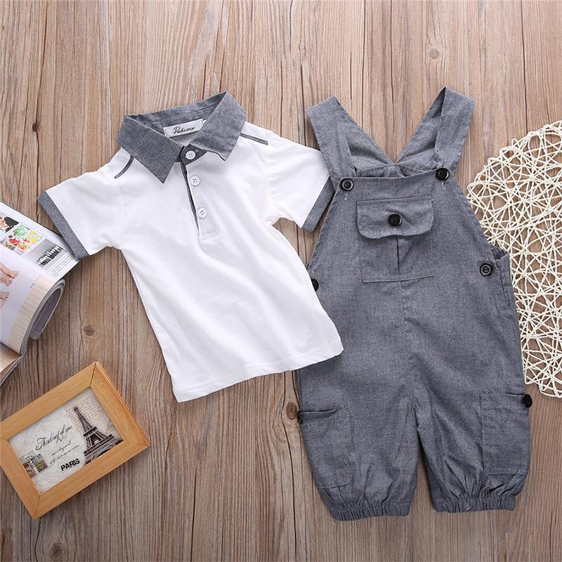 أطفال الرضع الطفل ملابس الأولاد قميص تي شيرت + سروال الحمالات الزي، 2PCS حديثي الولادة الصبي الصيف تي شيرت + المريله تتسابق مجموعة الملابس