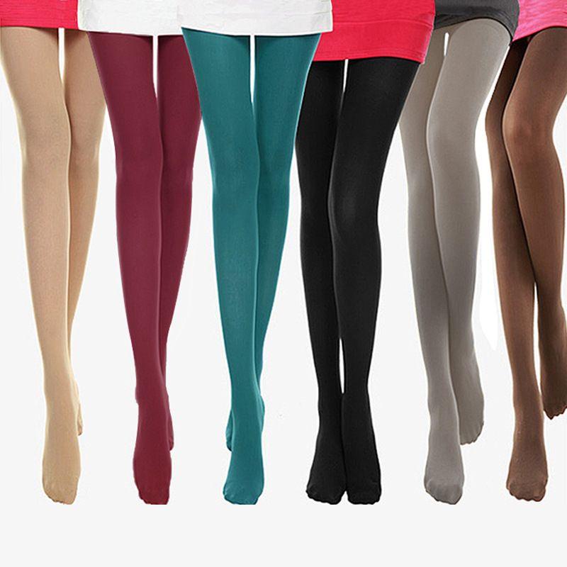 Inverno caldo Collant Collant a vita alta spessa Calze senza giunte caldo velluto calzamaglia femminile di colore della caramella sexy Calze