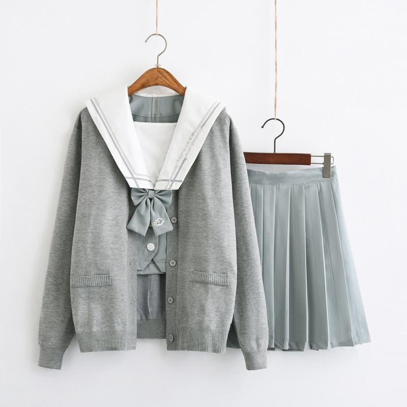 2019 UPHYD Japanese School Uniform Long Sleeve Spring Autumn Girls White Shirt and Pleated Skirt Full Sets Cosplay JK Costume SH190908