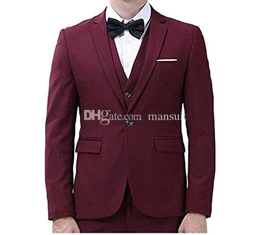 주문품 Groomsmen 노치 Lapel 신랑 Tuxedos Burgundy 남자 한 벌 결혼식 / prom / Dinner 제일 남자 재킷 (자켓 + 바지 + 조끼 + 넥타이) M1020